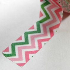 Washi Tape in pink  green chevron, I legitimately want this tape