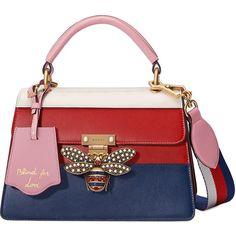 abda6ed1238 Gucci Sylvie Embroidered Leather Top Handle Bag featuring polyvore women s  fashion bags handbags bolsas gucci purses light blue top handles   bosto…