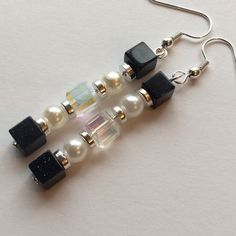 """Pearly Column Earrings Look like Pearly Columns!! Each earring has layers of faux pearls, silver spacers, clear glass cube beads, Glass deep sparkly Navy cube beads. Hung with Silver tone ear hooks.  Approx 2.5"""" long. Jewelry Earrings"""