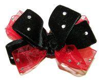 Glitzy Red & Black Velvet Organza Hair Bow