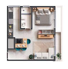 House Floor Design, Sims House Design, Unique House Design, Minimalist House Design, Studio Apartment Plan, Apartment Layout, Apartment Plans, Apartment Design, Home Building Design