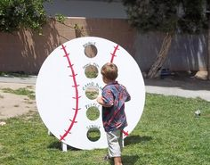 I wanted to come up with a few games for the baseball birthday party. One idea I… I wanted to come up with a few games for the baseball birthday party. One idea I had was a bean bag toss game. Fortunately, my neighbor h… Softball Party, Baseball Birthday Party, Sports Birthday, Sports Party, Birthday Party Games, First Birthday Parties, Baseball Party Games, Birthday Ideas, Games Football