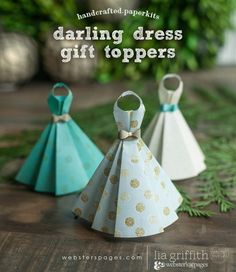 These Darling Dress Toppers are one of the Gift Toppers paper kits from Lia Griffith and Webster's Pages for the All That Glitters collection. Origami And Kirigami, Paper Crafts Origami, Diy Origami, Diy Paper, Paper Art, Oragami, Origami Dress, Dress Card, Paper Folding