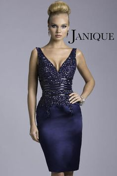 Ultra sophisticated beaded Navy Blue cocktail dress. By Janique - 520