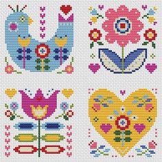 Folk art designs, colourful folk-style greetings, set of four, cross stitch chart, PDF - Instant dow Cactus Cross Stitch, Cross Stitch Cards, Cross Stitch Borders, Simple Cross Stitch, Cross Stitch Flowers, Cross Stitching, Cross Stitch Embroidery, Embroidery Patterns, Wedding Cross Stitch Patterns