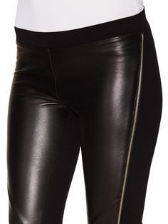 Priv Leather Front Pant with Side Zippers from Sandro on Gilt