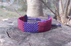 Double knotted macrame bracelet - unisex bracelet, adjustable length, double colored, purple, burgundy, friendship bracelet!