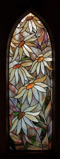 Daisies...maybe I will be able to do this one day if I can convince my dad to keep teaching me stain glass! #StainedGlassBathroom