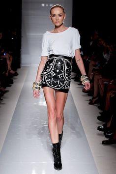 BALMAIN Spring 2012 Black Leather Applique Mini Skirt