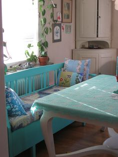 turquoise table and bench