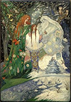 Another version of Snowmaiden by Nataliya Kurkina Russian-Lacquer-Art Art And Illustration, Andersen's Fairy Tales, Ancient Myths, Russian Folk Art, Fairytale Art, Conte, Box Art, Cool Artwork, Sketches
