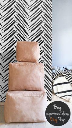 Hand-drawn herringbone pattern, black and white, simple, minimalistic wallpaper, scandinavian style, self adhesive, reusable wall mural #108
