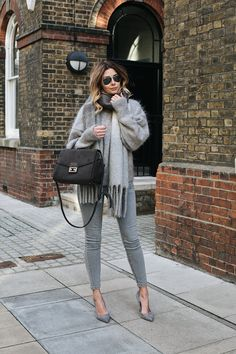 Emma Hill wears an all grey outfit