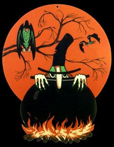 Vintage Halloween Die-Cut ~ Beistle Witch Peeking Over Her Cauldron. Printed with Day-Glo Ink. Circa, 1970's.