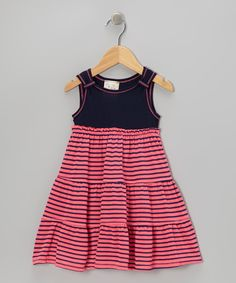 Hot Pink & Navy Stripe Dress - Toddler & Girls | Daily deals for moms, babies and kids