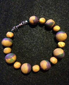 OOAK Green Gold Purple Polymer Swarovski Clay Bracelet | NaturalJaurney - Jewelry on ArtFire