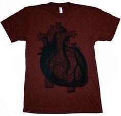 Mens Vintage ANATOMICAL HEART american apparel T-Shirt S M L XL (Heather Cranberry) Custom Shirt Colors on Etsy, $24.00