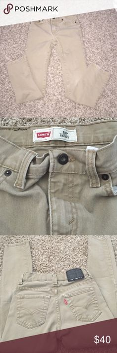 Tan Levi Skinny Jeans In excellent condition. No holes or stains. Fits a boys size 10 regular. Comes from a smoke free home ! Purchased from Tillys. Levi's Bottoms Jeans