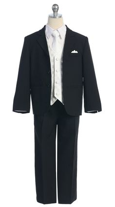 Boys Suit Style 5006 - 5 piece Suit Set- Black Suit with White Vest - Flower Girl Dress For Less