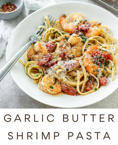 Garlic Butter Shrimp Pasta, Lemon Pasta, Shrimp Pasta Recipes, Seafood Recipes, Cooking Recipes, Sauteed Shrimp, Pasta Formen, Easy Dinner Recipes, Breakfast Recipes