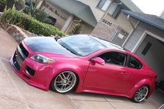 Scion tC in hot pink with body kit Scion Cars, Suv Cars, Car Car, My Dream Car, Dream Cars, Dream Auto, Hot Rides, Performance Cars, Love Car