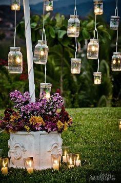 Vintage wedding reception decor vintage mason jars outdoor wedding decor id Vintage Mason Jars, Mason Jar Diy, Backyard Lighting, Outdoor Lighting, Lighting Ideas, Wedding Lighting, Lighting Design, Event Lighting, Landscape Lighting