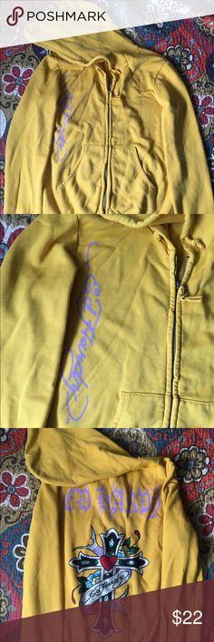 Ed Hardy zip-up hoodie Perfect condition! Beautifully jeweled Ed Hardy Tops Sweatshirts & Hoodies