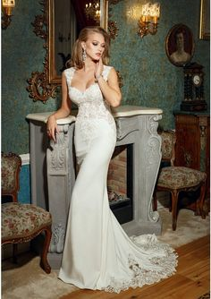 Dress Crafted In Stretch Silk And Embroidered Lace Mermaid Wedding Gown Without Sleeves Open Back Top Features Sweetheart Cleavage Built Bra