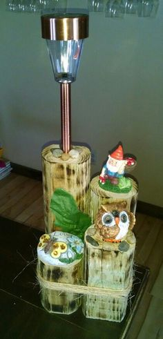 Owl and gnome solar light display