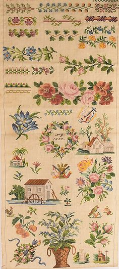 A Beautiful 19th Century WoolWork Sampler Signed NG & Dated 1834