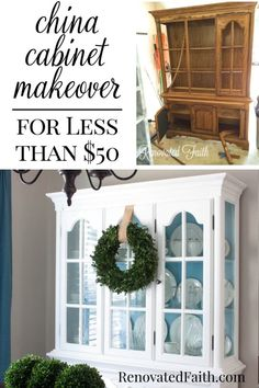 Is a new china cabinet WAY too expensive? Check out my china cabinet makeover and I'll show you 7 steps to update an old hutch with your own style in mind! Refinished China Cabinet, Painted China Hutch, China Cabinet Makeovers, Farmhouse China Cabinet, China Hutch Makeover, Antique China Cabinets, Dresser Makeovers, Hutch Cabinet, Built In Cabinets
