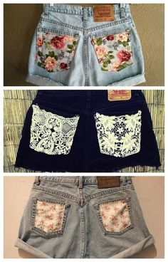 Add some pretty fabric to your old shorts DIY Diy Summer Clothes, Summer Outfits, Summer Shorts, Summer Clothing, Diy Your Clothes, Diy Clothes Making, Summer Dresses, Winter Clothes, Summer Tops