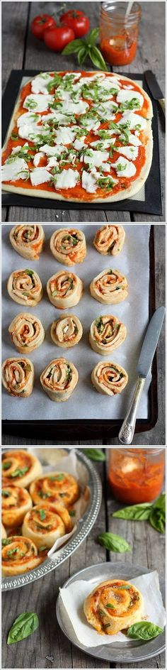 Margherita Pizza Wheels (with Tomato, Basil, and Mozzarella) | Completely Delicious - Can't attest for the pizza dough (I used store-bought) but these are really easy yummy comfort food pizza wheels. :)