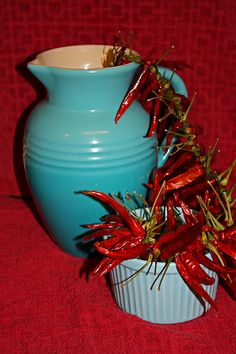 aqua red peppers three