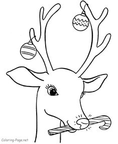 Christmas Decorations On Santa Reindeer Kids Coloring Page Sheets
