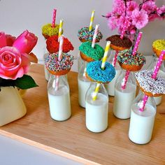 Girls Party Idea- Cute and delicious donuts sprinkles with glass milk jugs #donut #sweets #sweetshoppe