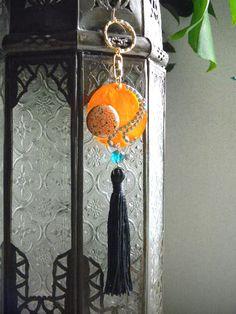 Orange Fan Fringe Key Chain Key Ring Key Fobs or by OstaraTokyo, $42.00