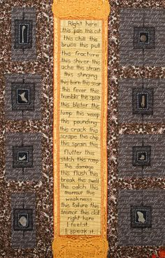 """Amy Meissner, """"The Acquisition of Language,"""" detail, 2014. Cotton, wool, silk, vintage linens, found objects. Machine pieced, hand embroidered & hand quilted. www.amymeissner.com"""