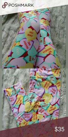 Lularoe LIMITED EDITION Valentine's Leggings Limited edition  Good condition One size Lularoe Adorable pattern for Valentine's day!  Offers welcome LuLaRoe Pants Leggings