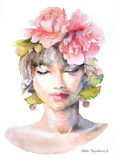 Girl with Peony Flower Crown Watercolor Print Painting Home Decor Floral Illustration Girl Art Peony Spring Wall Art Peony Wall Prints Watercolor Girl, Watercolor Flowers, Watercolor Paintings, Illustration Blume, Illustration Girl, Flower Crown Drawing, Original Art, Original Paintings, Floral Illustrations