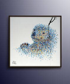 """Animal Painting 40"""" Sea Otter Animal Original Oil Painting, Canvas Painting Art , Hand made, Small painting, Modern Art, by Koby Feldmos"""