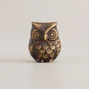 Antique Brass Owl Knobs, Set of 2
