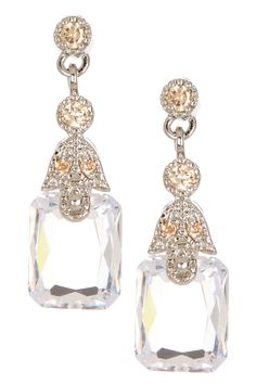 Pave CZ Rectangle Drop Earrings