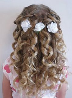 Twists and Curlformers Hairstyle - Pagent Hair - hair Childrens Hairstyles, Cute Hairstyles For Kids, Flower Girl Hairstyles, Little Girl Hairstyles, Twist Hairstyles, Pretty Hairstyles, Kids Hairstyle, Graduation Hairstyles, Wedding Hairstyles