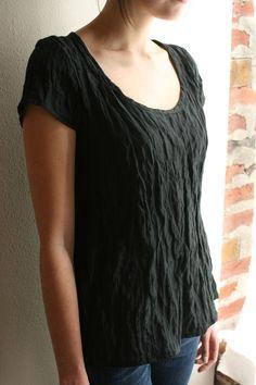 cap sleeve blouse - black silk