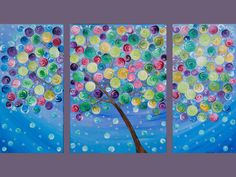 """42x24 Original Modern Abstract Heavy Texture Impasto Canvas Painting Landscape Tree Branches Wall Decor """"Color My World"""" by QIQIGALLERY"""