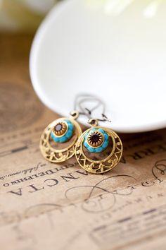 Rhinestone Filigree Brass Earrings Turquoise Blue by MeMadeJewels