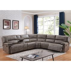 Donovan Sectional Sofa with 3 Reclining Seats | Overstock.com Shopping - The Best Deals on Sectional Sofas