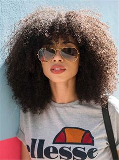 Medium Natural Curly Kinky African American Synthetic Hair Capless Wigs
