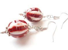 Red White Earrings Peppermint Earrings Red and by chicagolandia #hepteam